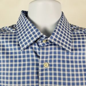 David Donahue Blue Check  French Cuff 16.5 32/33